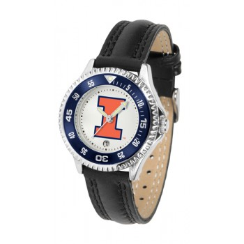 Illinois Fighting Illini Ladies Watch - Competitor Poly/Leather Band