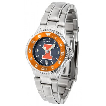 Illinois Fighting Illini Ladies Watch - Competitor Anochrome - Colored Bezel - Steel Band