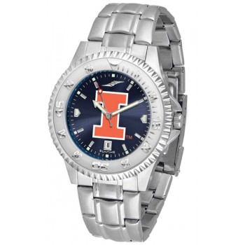 Illinois Fighting Illini Mens Watch - Competitor Anochrome Steel Band