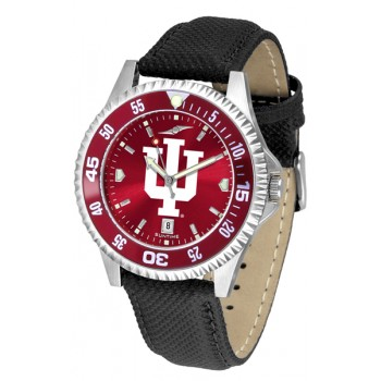 Indiana University Hoosiers Mens Watch - Competitor Anochrome Colored Bezel Poly/Leather Band