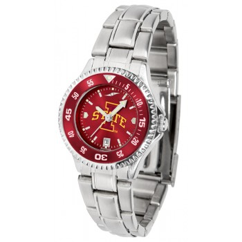 Iowa State University Cyclones Ladies Watch - Competitor Anochrome - Colored Bezel - Steel Band