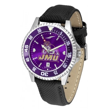 James Madison University Dukes Mens Watch - Competitor Anochrome Colored Bezel Poly/Leather Band
