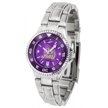 James Madison University Dukes Ladies Watch - Competitor Anochrome - Colored Bezel - Steel Band