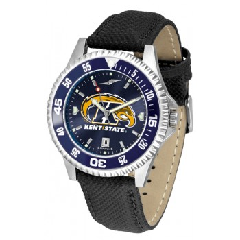 Kent State University Golden Flashes Mens Watch - Competitor Anochrome Colored Bezel Poly/Leather Band