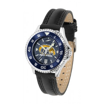 Kent State University Golden Flashes Ladies Watch - Competitor Anochrome Colored Bezel Poly/Leather Band