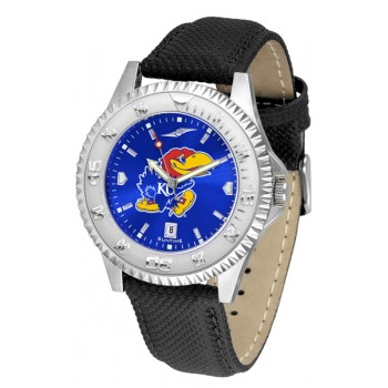 University Of Kansas Jayhawks Mens Watch - Competitor Anochrome Poly/Leather Band