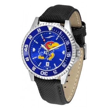 University Of Kansas Jayhawks Mens Watch - Competitor Anochrome Colored Bezel Poly/Leather Band