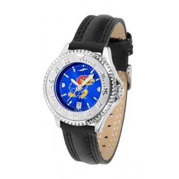 University Of Kansas Jayhawks Ladies Watch - Competitor Anochrome Poly/Leather Band