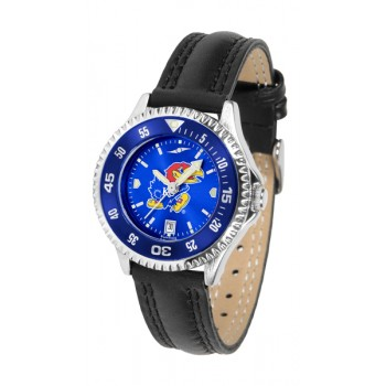 University Of Kansas Jayhawks Ladies Watch - Competitor Anochrome Colored Bezel Poly/Leather Band