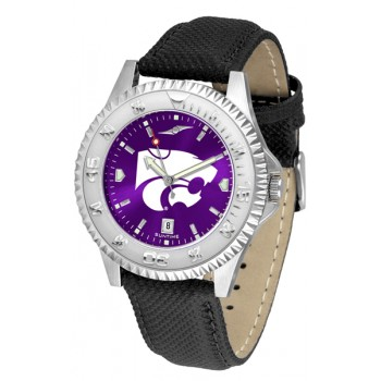 Kansas State University Wildcats Mens Watch - Competitor Anochrome Poly/Leather Band