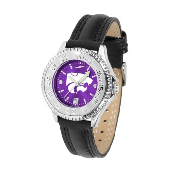 Kansas State University Wildcats Ladies Watch - Competitor Anochrome Poly/Leather Band