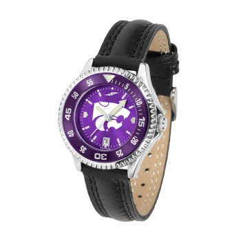 Kansas State University Wildcats Ladies Watch - Competitor Anochrome Colored Bezel Poly/Leather Band
