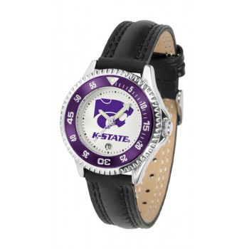Kansas State University Wildcats Ladies Watch - Competitor Poly/Leather Band