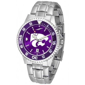 Kansas State University Wildcats Mens Watch - Competitor Anochrome - Colored Bezel - Steel Band