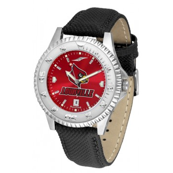 University Of Louisville Cardinals Mens Watch - Competitor Anochrome Poly/Leather Band