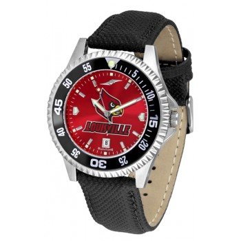 University Of Louisville Cardinals Mens Watch - Competitor Anochrome Colored Bezel Poly/Leather Band