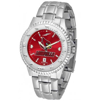 University Of Louisville Cardinals Mens Watch - Competitor Anochrome Steel Band