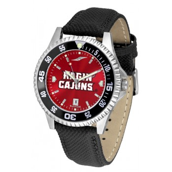 University Of Louisiana At Layfayette Ragin' Cajuns Mens Watch - Competitor Anochrome Colored Bezel Poly/Leather Band