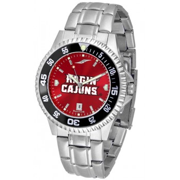 University Of Louisiana At Layfayette Ragin' Cajuns Mens Watch - Competitor Anochrome - Colored Bezel - Steel Band
