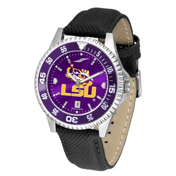 Louisiana State University Tigers Mens Watch - Competitor Anochrome Colored Bezel Poly/Leather Band