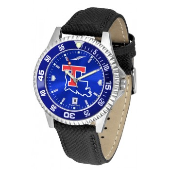 Louisiana Tech University Mens Watch - Competitor Anochrome Colored Bezel Poly/Leather Band