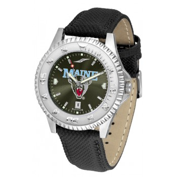 University Of Maine Black Bears Mens Watch - Competitor Anochrome Poly/Leather Band
