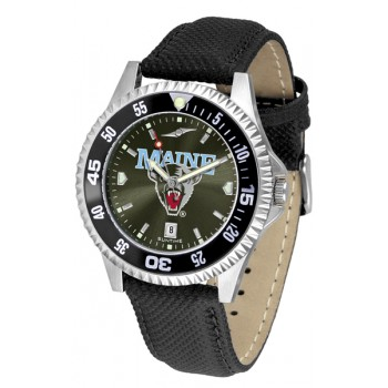 University Of Maine Black Bears Mens Watch - Competitor Anochrome Colored Bezel Poly/Leather Band