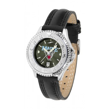 University Of Maine Black Bears Ladies Watch - Competitor Anochrome Poly/Leather Band