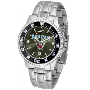 University Of Maine Black Bears Mens Watch - Competitor Anochrome - Colored Bezel - Steel Band