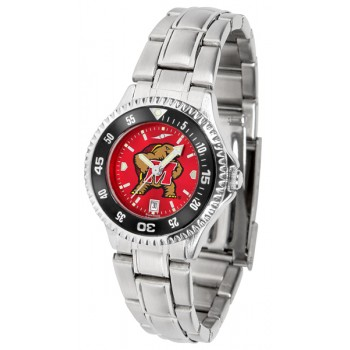 University Of Maryland Terrapins Ladies Watch - Competitor Anochrome - Colored Bezel - Steel Band