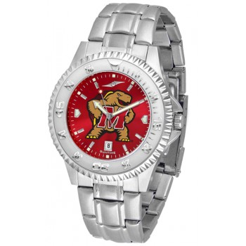 University Of Maryland Terrapins Mens Watch - Competitor Anochrome Steel Band
