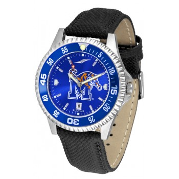University Of Memphis Tigers Mens Watch - Competitor Anochrome Colored Bezel Poly/Leather Band
