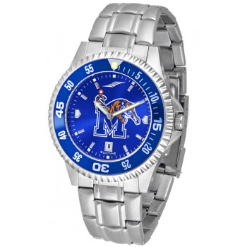 University Of Memphis Tigers Mens Watch - Competitor Anochrome - Colored Bezel - Steel Band