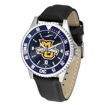 Marquette University Golden Eagles Mens Watch - Competitor Anochrome Colored Bezel Poly/Leather Band