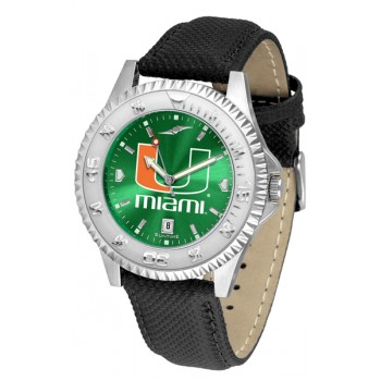 University Of Miami Hurricanes Mens Watch - Competitor Anochrome Poly/Leather Band