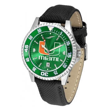 University Of Miami Hurricanes Mens Watch - Competitor Anochrome Colored Bezel Poly/Leather Band