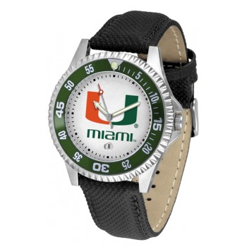 University Of Miami Hurricanes Mens Watch - Competitor Poly/Leather Band