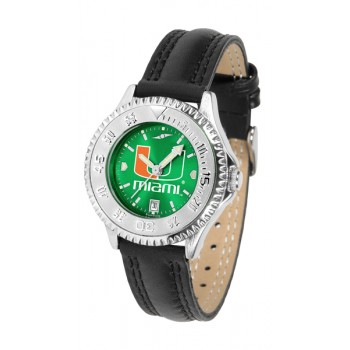 University Of Miami Hurricanes Ladies Watch - Competitor Anochrome Poly/Leather Band