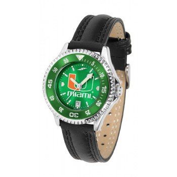 University Of Miami Hurricanes Ladies Watch - Competitor Anochrome Colored Bezel Poly/Leather Band
