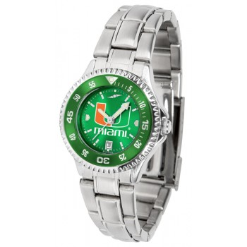 University Of Miami Hurricanes Ladies Watch - Competitor Anochrome - Colored Bezel - Steel Band