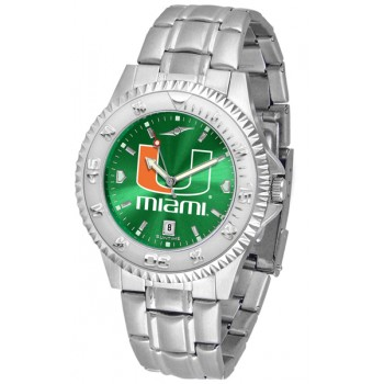 University Of Miami Hurricanes Mens Watch - Competitor Anochrome Steel Band