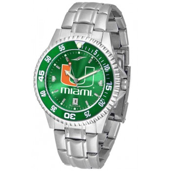 University Of Miami Hurricanes Mens Watch - Competitor Anochrome - Colored Bezel - Steel Band