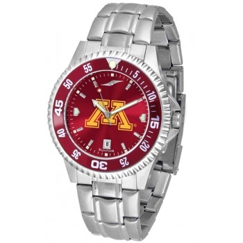 University Of Minnesota Gophers Mens Watch - Competitor Anochrome - Colored Bezel - Steel Band