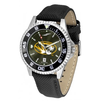 University Of Missouri Tigers Mens Watch - Competitor Anochrome Colored Bezel Poly/Leather Band