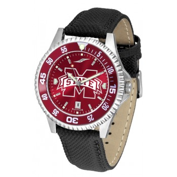Mississippi State University Bulldogs Mens Watch - Competitor Anochrome Colored Bezel Poly/Leather Band