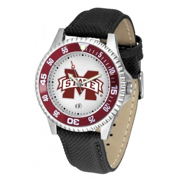 Mississippi State University Bulldogs Mens Watch - Competitor Poly/Leather Band