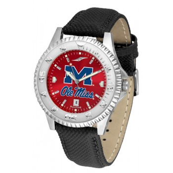 University Of Mississippi Ole Miss Rebels Mens Watch - Competitor Anochrome Poly/Leather Band