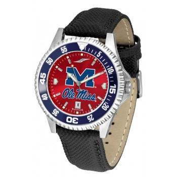 University Of Mississippi Ole Miss Rebels Mens Watch - Competitor Anochrome Colored Bezel Poly/Leather Band