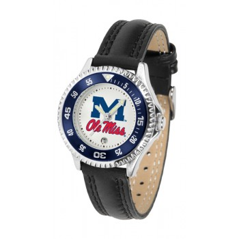 University Of Mississippi Ole Miss Rebels Ladies Watch - Competitor Poly/Leather Band