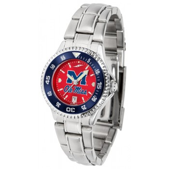 University Of Mississippi Ole Miss Rebels Ladies Watch - Competitor Anochrome - Colored Bezel - Steel Band